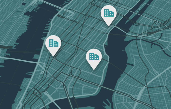 Map of New York with Listings